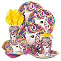 Lisa Frank Rainbow Majesty Unicorn Birthday Party Supplies Pack - Serves 16
