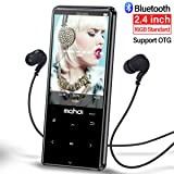 MYMAHDI MP3 Player with Bluetooth 4.1, Touch Buttons with 2.4 inch Screen, 16GB Portable Lossless Digital Audio Player with FM Radio, Voice Recorder, Support up to 128GB, Black