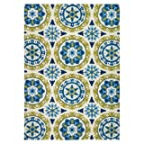 Couristan Covington 2238/0802 Round Rug, 7-Feet 10-Inch, Astral/Azure/Lemon