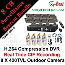 Q-SEE QS408-803-5 8 CH Complete CCTV Bundle Package Kit: 8 Channels H.264 Real Time CIF / D1 Network Standalone Surveillance DVR500GB HDD, 8 X 420TVL 1/4
