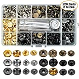 120 Sets Snap Fastener Tool Kit, Metal Snaps Button Leathercraft Rivets Press Studs, 12.5mm and 10mm Leather Snap Fastener Tools Kit Double Cap Brass Rivets for Clothes, Jacket, Jeans Wears, Bag, Belt