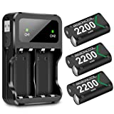 Xbox One Rechargeable Battery Pack 3x2200mAh Xbox One Battery Packs for Xbox One/One S/One X/Elite Controller Charger Xbox Play and Charge Kit with Two Extra Charge Port (Color: 3x2200mAh rechargeable battery, Tamaño: 3x2200mAh battery)
