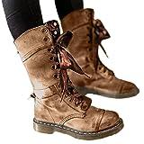 Sunhusing Women Studded Vintage Ribbon Lace-Up Mid-Calf Short Boots Retro Round Toe Leather Shoes (Color: Khaki, Tamaño: US:8)