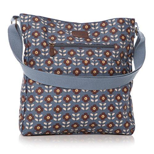 Beautiful Blue Floral Flower Print Oilcloth Ladies Messenger Fashion Bag Handbag