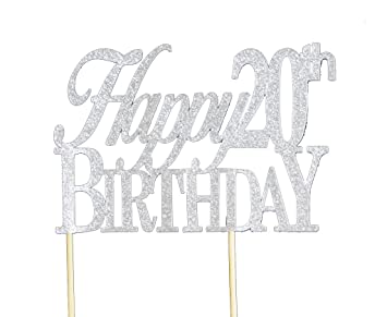 buy all about details silver happy 20th birthday cake topper on birthday cake toppers online india