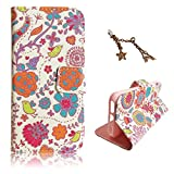 Uming Pattern Print PU case for Apple Iphone 5S 5G 5 IPhone5 IPhone5S Apple5S Colorful Line Cute Cartoon Birds Bloom Flower Pattern Colorful Printing Drawing Patterns Flip Holster with Stand Stander Holder Hand Free Credit Card Slot Hole Hasp Magnet Magn