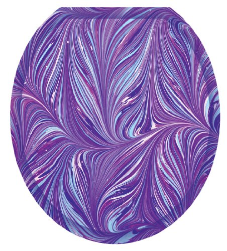 Toilet Tattoos TT-1023-R Purple Plumes Decorative Applique For Toilet Lid, Round
