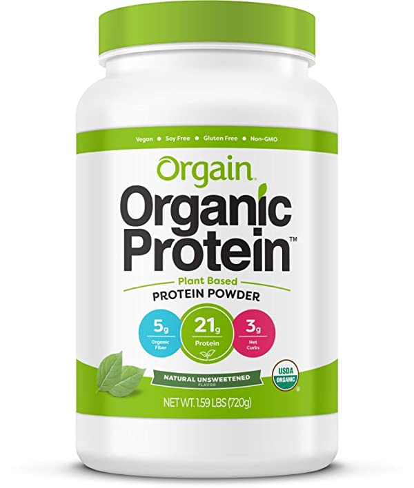 Orgain Organic Plant Based Protein Powder, Nautral Unsweetened, Vegan, Non-GMO, Gluten Free, 1.59 Pound, 1 Count, Packaging May Vary