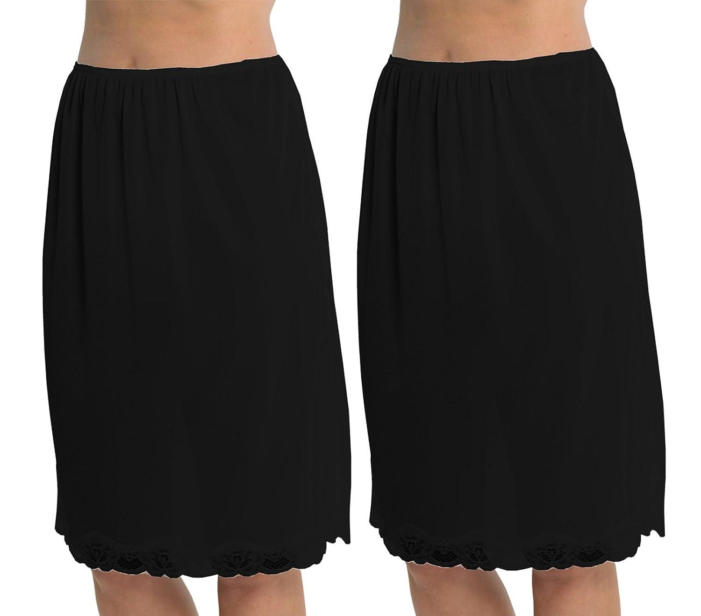 2 Pack Womens Damen Unterrock Slip mit Lace Trim 100 % Polyester resistentes Cling, 24 Zoll Länge (60cms), verschiedene Farben & Größen kaufen