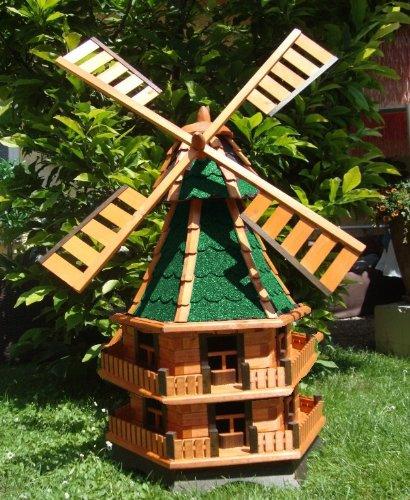 MEGA Windmühle, windmühle für garten, WMB140gr-OS grün grau-grün aus Holz, hell ohne o. mit SolarBeleuchtung,