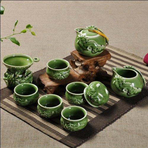 Ufingo-Green High-End Ceramic Embossed Double Dragon Kung Fu Tea Set Tea Service