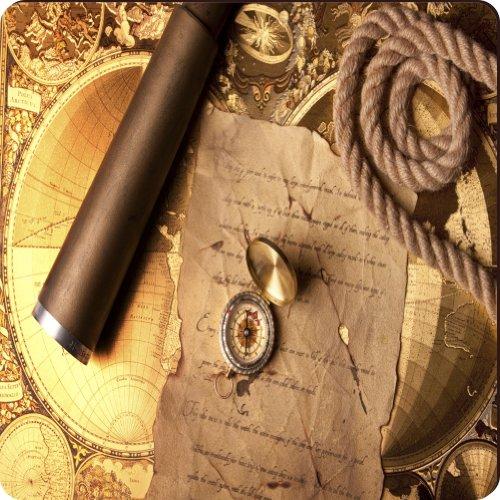 Rikki Knighttm Vintage Navigation Compass Map And Telescope Design Square Fridge Magnet
