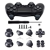 TOMSIN Metal Buttons for DualShock 4, Aluminum Metal Thumbsticks Analog Grip & Bullet Buttons & D-pad & L1 R1 L2 R2 Trigger for PS4 Controller Gen 1 (Metal Black) (Color: Metal Black)