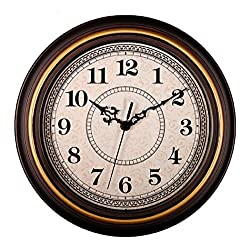 SonYo Silent Non-ticking Round Contemprary Antique Wall Clocks (12 Inches) Decorative Vintage Style,GoldenEdge