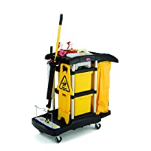 Rubbermaid Commercial FG9T7400BLA Housekeeping Service Cart with Color Coded Pails, Black