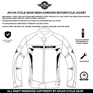 RED SPARROW, LARGE ALPHA CYCLE GEAR BREATHABLE BIKERS RIDING PROTECTION MOTORCYCLE JACKET MESH CE ARMORED