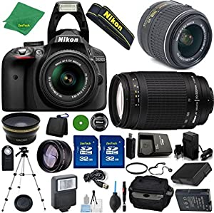 Nikon D3300 24.2 MP CMOS Digital SLR, NIKKOR 18-55mm f/3.5-5.6 Auto Focus-S DX VR, Nikon 70-300mm f/4-5.6G, 2pcs 32GB ZeeTech Memory, Case, Wide Angle, Telephoto, Flash, Battery, Charger