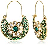 Aheli Hoops Earrings for Women (Green) (A1EJP76)