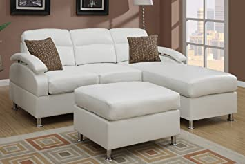 Poundex F7688 White Bonded Leather Sectional Sofa