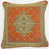 2 X TERRACOTTA ORANGE GOLD AZTEC TAPESTRY CHENILLE THICK 45CM X 45CM CUSHION COVER PILLOW CASE SHAM
