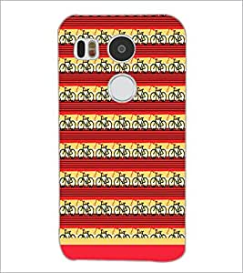 PrintDhaba Cycle Pattern D-1477 Back Case Cover for LG NEXUS 5X (Multi-Coloured)