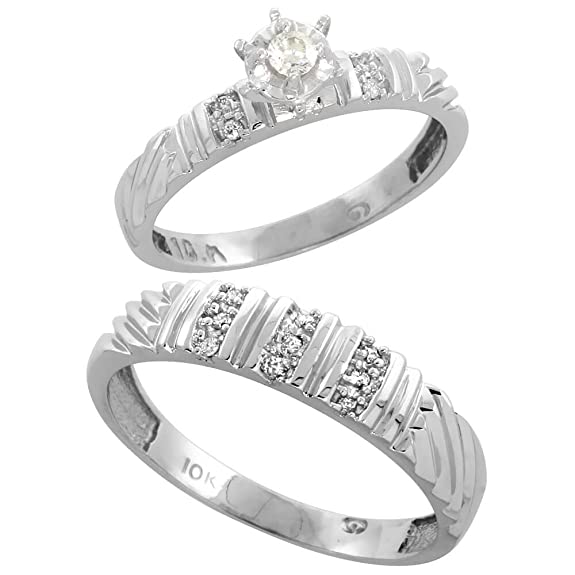 9ct White Gold 2-Piece Diamond Ring Set, 3.5mm Engagement Ring & Man's 5mm Wedding Band