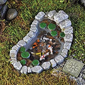Fiddlehead fairy garden koi and lily pad pond for Garden pond amazon