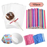 Jatidne 100 Pieces Cake Pop Sticks Lollipop Sticks with Lollipop Bags Ties and Cupcake Wrappers for Lollipop Making Party Favours (Color: Multicolor)
