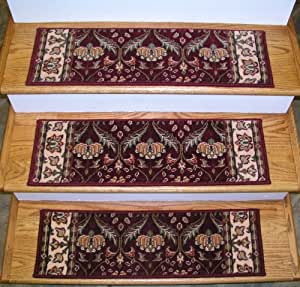 146447 rug depot premium carpet stair treads 30 x 9 stair treads burgundy - Rugs and runners to match ...