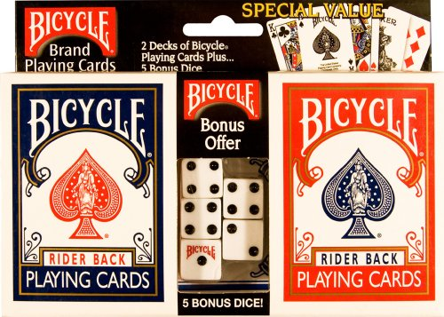 Bicycle Double Pack Poker Size Standard Index Rider Back Playing Cards with Bonus Dice
