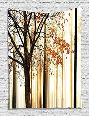 Fall Trees Enchanted Nature Orange Black Brown Vibrant Colors Design Art Decor Eco Environment Digital Printed Tapestry Wall Hanging Wall Tapestry Living Room Bedroom Dorm Decor