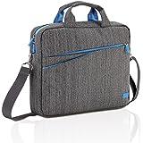 """deleyCON Notebooktasche für Notebook / Laptop bis 13.3"""" (33,7cm) - Tasche/Hülle aus Leinen mit Zubehörfächern und verstärkten Polsterwänden - grau/blau"""