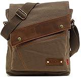 EcoCity Mens Womens Vintage Canvas Crosssbody Bags Messenger Bag Shoulder Bags MB0002A4 (Army green)