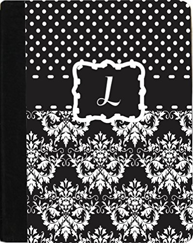 "Rikki Knighttm Rikki Knight Initial ""L"" Black & White Damask Dots Monogrammed Design Kindle Fire Hd 8.9"" (2012 Version) Notebook Case Black Faux Leather (Measures 9.5"" X 6.5"") front-600356"
