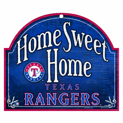 "MLB Texas Rangers 10-by-11 Inch Wood ""Home Sweet Home"" Sign at Amazon.com"