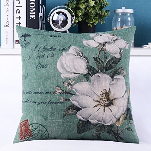 "Euphoria Home Decorative Cushion Covers Pillows Shell Cotton Linen Blend White Floral Take You Loving Whisper 18"" X 18"" front-543203"
