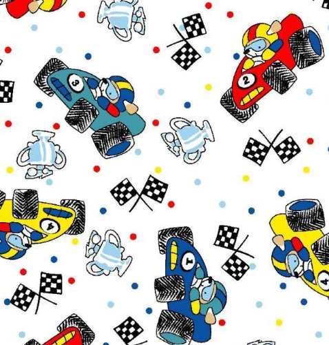 SheetWorld Fitted Pack N Play Sheet - Fun Race Cars - Made In USA