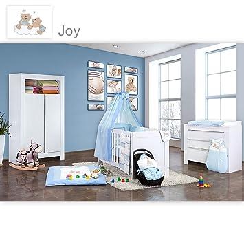 Babyzimmer Felix in weiss 19 tlg. mit 2 turigem Kl + Joy in blau