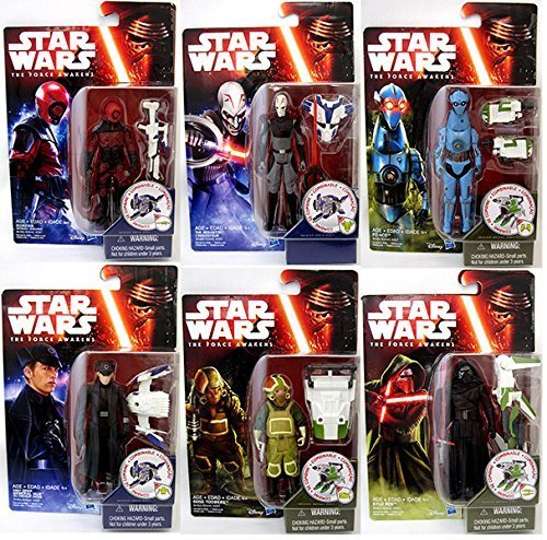 """Star Wars Episode VII The Force Awakens 3.75"""" Wave 2 Set of 6 - PZ-4C0, Goss Toowers, Kylo Ren, General Hux, Guavian Enforcer, The Inquisitor"""