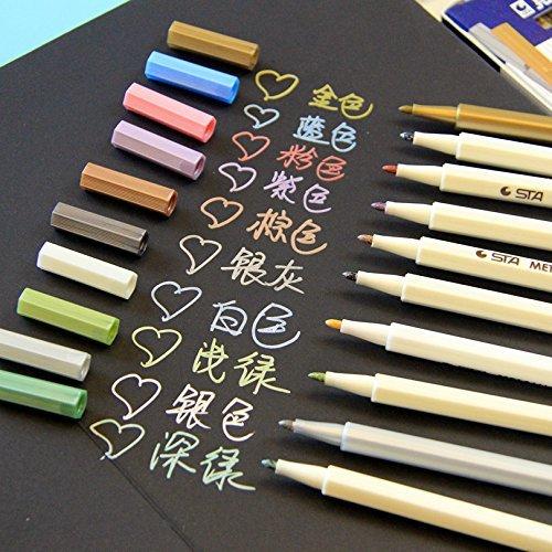 VStoy-Set di 10 pennarelli, colori: oro, argento, colore: bianco d'inchiostro, per realizzare biglietti, colore: rosa