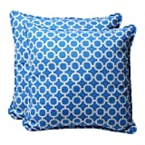 Pillow Perfect Decorative Blue/White Geometric Square Toss Pillows, 2-Pack