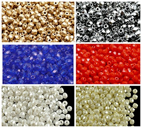 600 beads 6 colors Unique Set 323 Czech Fire-Polished Faceted Glass Beads Round 3 mm, 3FP007 3FP033 3FP043 3FP061 3FP5001 3FP5110