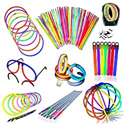 Glow Stick Party Pack Super Bright, Long Lasting Bulk Pack. Contains 50 Bracelets And Necklaces, 4 Glow Glasses, 6 Glow Sticks And 6 Glow Straws