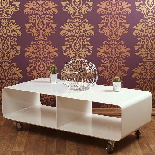 DESIGN LOUNGE TV TABLE MOBILE roll car metal dolly dvd shelf white from XTRADEFACTORY white