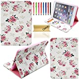 iPad Mini Case, Apple iPad Mini 1/2/3 Retina Case Cover, DteckTM Fashion Vintage Cartoon Cute Design Flip Leather Smart Case [STAND FEATURE] for Apple iPad Mini 1/2/3 (7.9 Inch Tablet) with Free Long Random Color Touch Screen Stylus & Dteck Brand Cleaning Cloth (#10 Pink Floral)