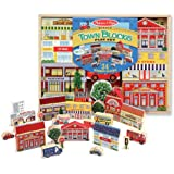 Wooden Town Theme Blocks Play Set + FREE Melissa & Doug Scratch Art Mini-Pad Bundle [05333]