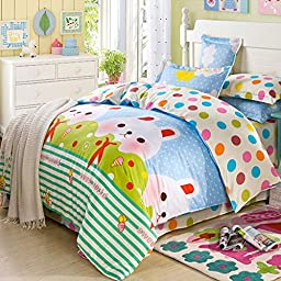 MeMoreCool Well Designed Cartoon 4 Pieces Bedding Sets Kids Cartoon Duvet Cover Sets with Pillow Shams Full Size Different Styles Optional