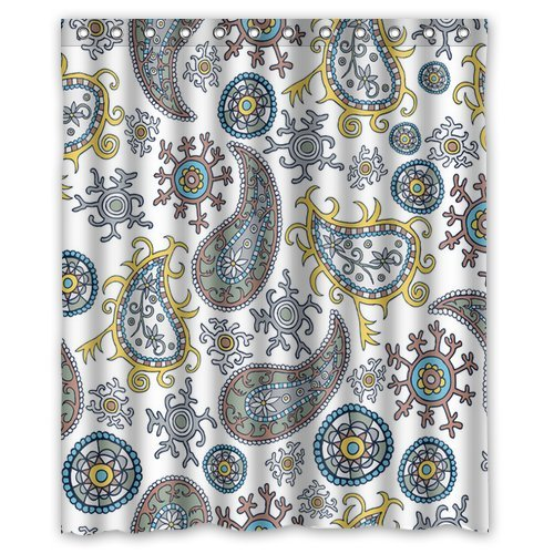 Custom Unique Design Vintage Paisley Waterproof Fabric Shower Curtain, 72 By 60-Inch back-613907