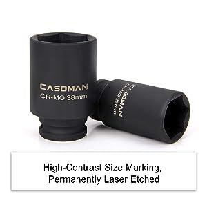 CASOMAN 1/2- Inch Drive Deep Spindle Axle Nut Impact Socket Set, 6 Point, CR-MO, Metric, 29mm-38mm, 9-Piece 1/2 Dr. Deep Impact Socket Set