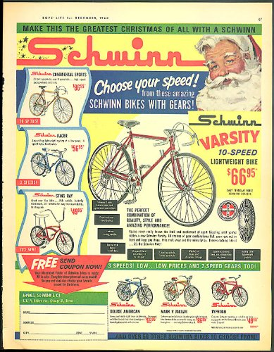 Choose your speed Schwinn Varsity Sting Ray Continental Typhoon ad 1963